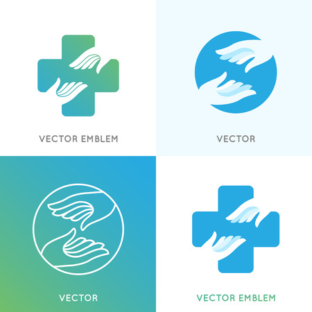Vector design templates in bright gradient colors - charity concepts and volunteer organizations - health and care emblems