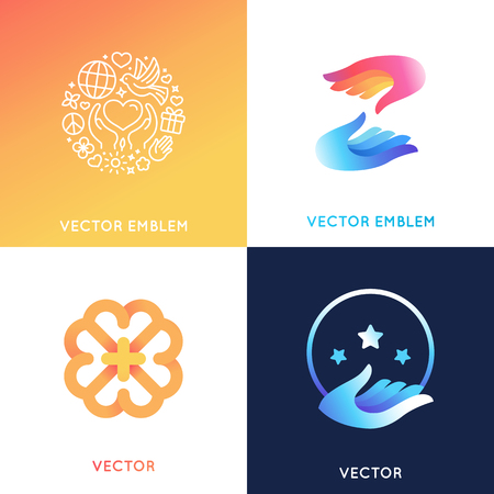 Vector design templates in bright gradient colors - charity concepts and volunteer organizations - help and protect Ilustração