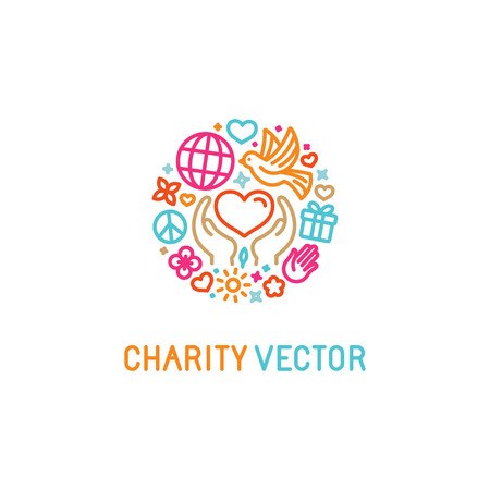 Vector modèle de conception avec des icônes dans le style linéaire branché - concepts de bienfaisance et organisme bénévole emblème - l'amour et les soins