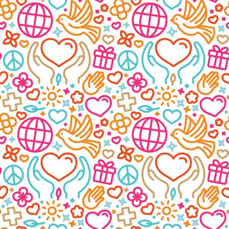 トレンディな直線的なスタイル - シームレスなパターンおよび慈善およびボランティアのウェブサイトとバナーの背景のアイコン ベクトル デザイン