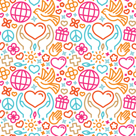 Vector design template with icons in trendy linear style - seamless pattern and background for charity and volunteer websites and banners