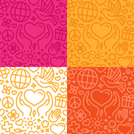 together voluntary: Vector design template with icons in trendy linear style - seamless pattern and background for charity and volunteer websites and banners