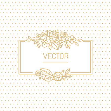 organic spa: Vector wedding invitation design template with hand-lettering phrase save the date, floral decoration and copy space for text - design elements in trendy simple linear style