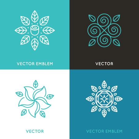 トレンディな直線的なスタイルの花と葉の美しさとファッションの概念とエンブレムのデザイン テンプレートの設定