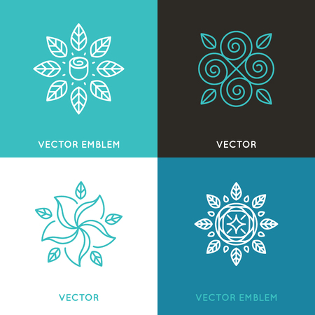 set of design templates in trendy linear style - flowers and leaves - beauty and fashion concepts and emblems 向量圖像