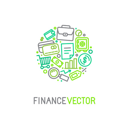 traders: icon design template in trendy linear style with icons related to banking and business - finance concept for financial startups and traders Illustration