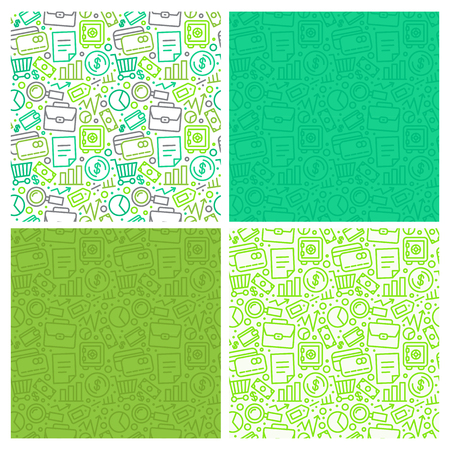 set of seamless patterns and background with icons in trendy linear style related to business and banking - financial and analytical business concepts