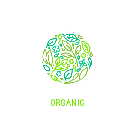 design template in trendy linear style with icons - organic concept and badge - green leaves in circle shape - for cosmetics packaging and vegan food