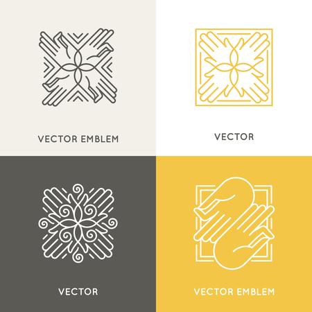 トレンディな直線的なスタイルのベクトル デザイン テンプレート