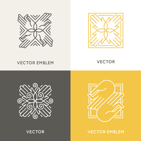 massage symbol: Vector  design template in trendy linear style