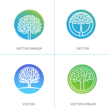 plants and trees: Vector set of business and abstract emblems in green gradient colors - trees and plants - growth concepts