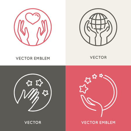 Vector charity and volunteer concepts Ilustrace