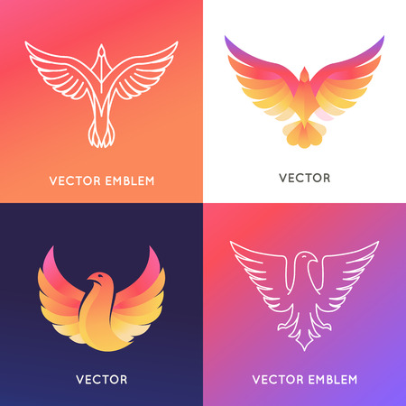 Vector abstract design template in bright gradient colors - phoenix bird and eagle emblems Иллюстрация
