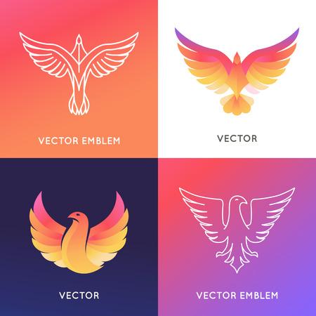 cazador: Vector plantilla de diseño abstracto en colores brillantes del gradiente - ave fénix y emblemas de águila