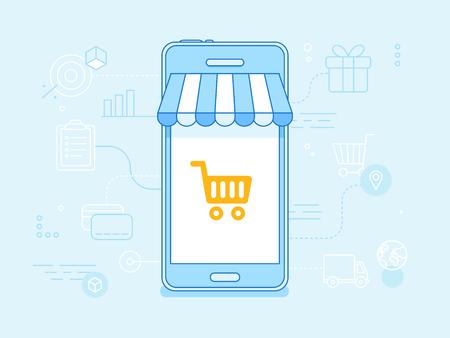 온라인 쇼핑 개념 - - 블루 컬러로 벡터 평면 선형 그림 터치 스크린에 줄무늬 차양 및 쇼핑 카트와 휴대 전화