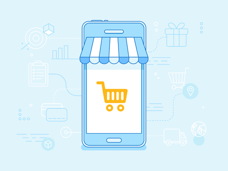 e shopping: Vector flat linear illustration in blue colors - online shopping concept - mobile phone with striped awnings and shopping cart on the touchscreen