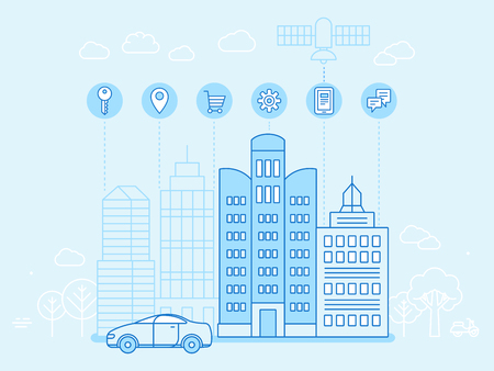 durability: Vector illustration in flat linear style - internet of things -  future technology for modern city - interaction between devices online