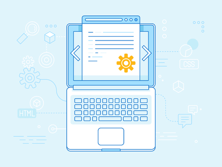 programming code: Vector flat linear illustration in blue colors - programming and coding concept - laptop icon top view with website code on the screen Illustration