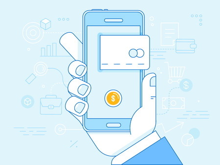 telephone line: Vector flat linear illustration in blue colors - online mobile payment concept - hand holding mobile phone with credit card icon on the touchscreen