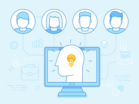 coworkers: Vector flat linear illustration in blue colors - remote teamwork concept - users and coworkers working online Illustration