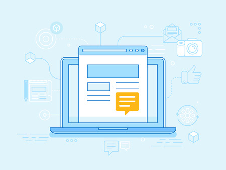 Vector flat linear illustration in blue colors - blogging concept - laptop with website on the screen with message sign
