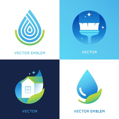 leuchtend: Reihe von Symbol-Design-Vorlagen in hellen Farbverlauf - Reinigungskonzepte Service