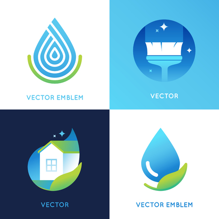water sanitation: set of icon design templates in bright gradient colors - cleaning service concepts