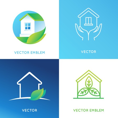 green cleaning: set of design templates and emblems in bright green gradient colors - cleaning service or eco friendly home concepts - house icons with leaves