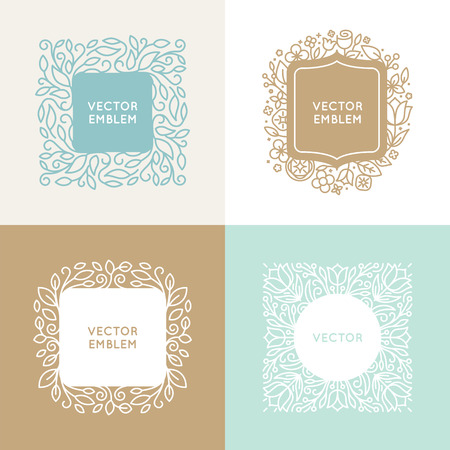 florist: set of floral monograms and design templates in trendy linear style - florist and wedding concepts with copy space for text
