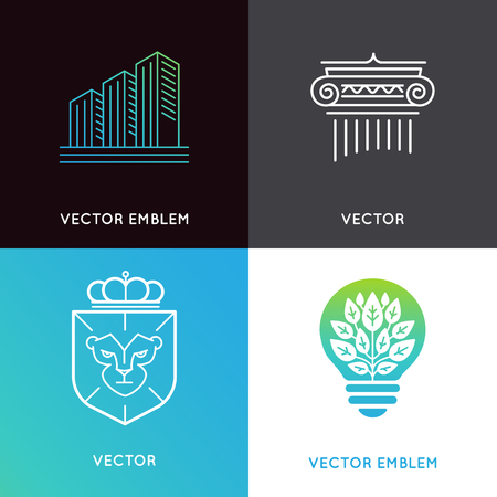 trading: set of design templates and emblems - business and finance concepts - investment and global market trading signs and icons
