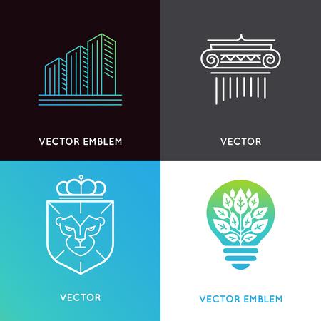 set van design templates en emblemen - zakelijke en financiële concepten - investeringen en de wereldwijde markt trading borden en pictogrammen