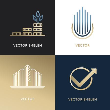 デザイン テンプレートとエンブレムのビジネスと金融の概念 - 投資、グローバル市場取引印とアイコンのセット