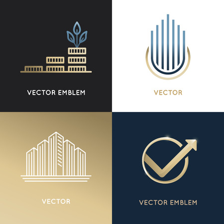 global finance: set of design templates and emblems - business and finance concepts - investment and global market trading signs and icons