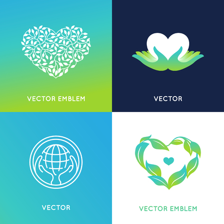 natural love: set of design templates and badges - nature and ecology concepts - care and love environment - grown with love