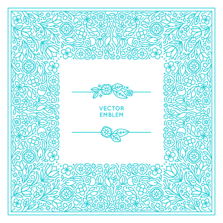 florist: set of floral monogram and design template in trendy linear style - florist and wedding concepts with copy space for text - invitation and greeting card print template Illustration