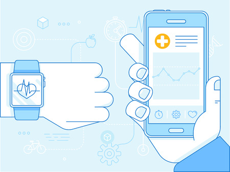 flat linear illustration in blue colors - health app on the mobile phone and smart watch - health monitoring with mobile gadgets concept