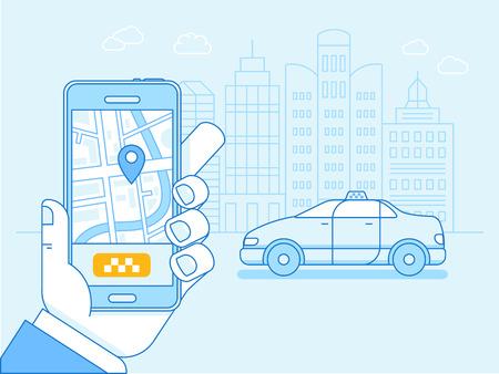 평면 선형 그림 파란색 색상 - 거리지도 및 위치 포인터와 휴대 전화의 화면에 택시 애플 리케이션 - 주문 카드 드라이버 온라인