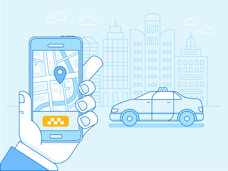 flat linear illustration in blue colors - taxi app on the screen of the mobile phone with street map and location pointer - order card driver online