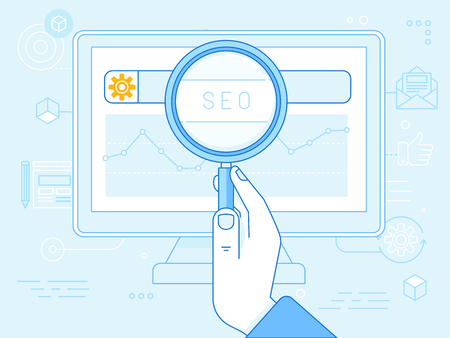 sep: flat linear illustration in blue colors - seo concept - search engine optimization technology - hand holding magnifying glass and graph on the screen