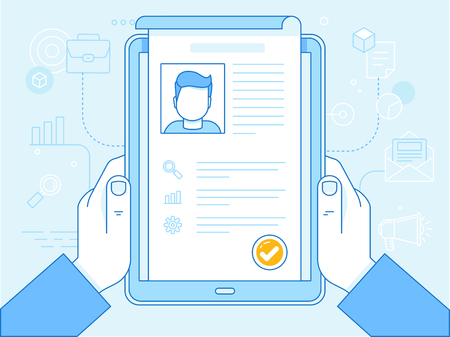 online form: flat linear illustration in blue colors - resume concept on the screen of tablet pc - human resources and applying for vacancy