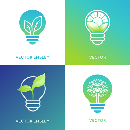 conservation: design template in bright gradient colors - eco energy concept - light bulb icons with green leaves