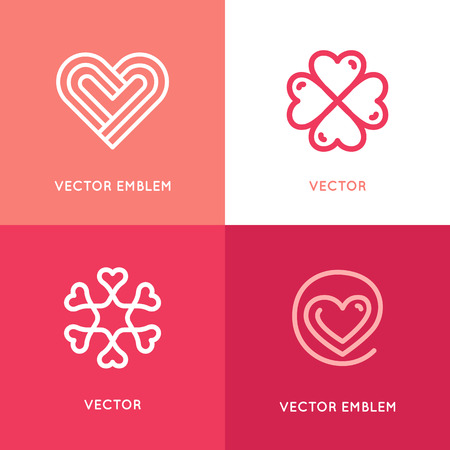 give charity: set of design elements and templates - heart symbols - love and care concepts