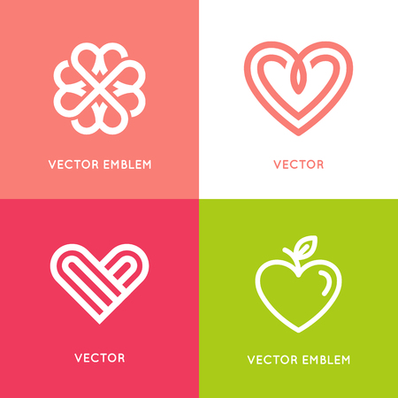 share icon: set of design elements and templates - heart symbols - love and care concepts