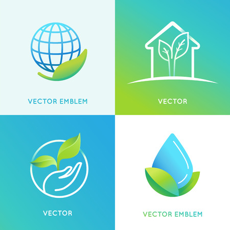 cleaning planet: set of design templates in bright gradient colors - save the planet concepts - eco energy icons and badges