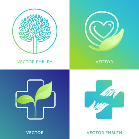 volunteering: set of design template in bright gradient colors - health and ecology concepts - save life and care icons and emblems Illustration