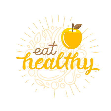 eat healthy: Eat healthy - motivational poster or banner with hand-lettering phrase eat healthy on green background with trendy linear icons and signs of fruits and vegetables - illustration