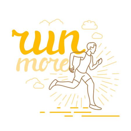 correr y el deporte motivación cartel y en el estilo lineal de moda con el texto de las letras - correr más y la ilustración de un hombre