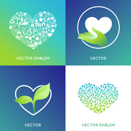 grown with love: set of design templates and badges - nature and ecology concepts - care and love  for environment, grown with love