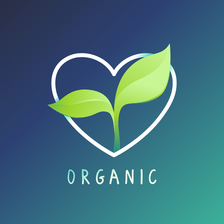 grown with love: design template and badge - nature and ecology concept - care and love for environment, grown with love