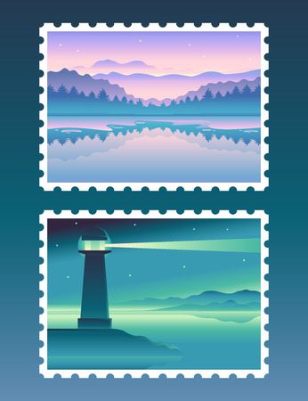 illustraiton: abstract landscapes - design templates in bright gradient colors - set of travel stamps cocnepts